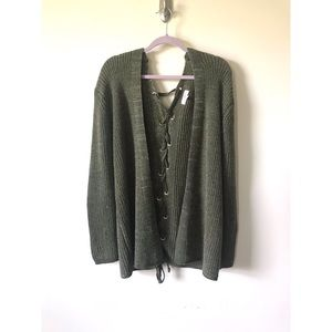 Umgee Green Lace Up Knit Cardigan Size M